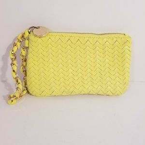 Deux lux Womens Woven Leather Yellow Bag Gold